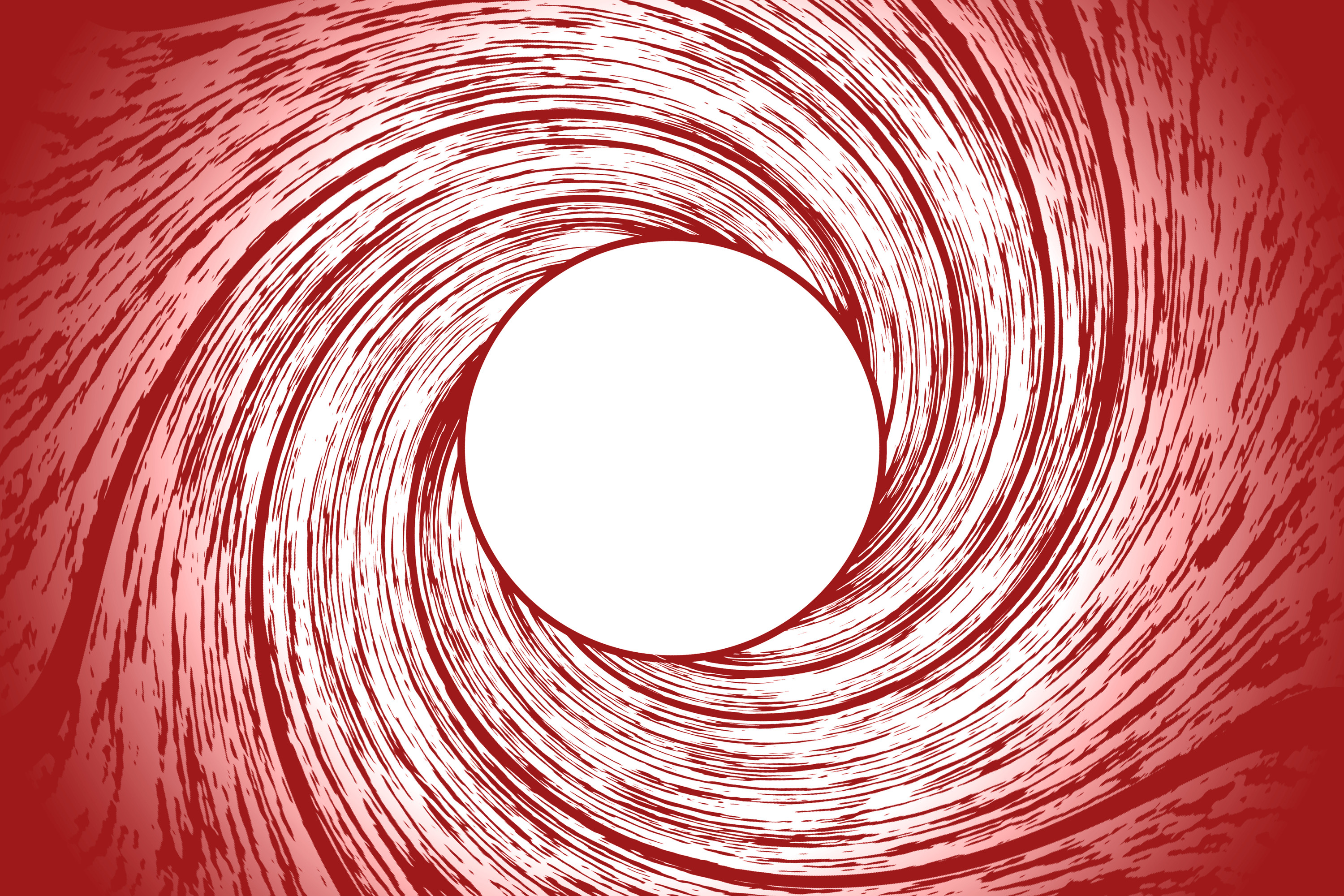 Red spiral like the boring inside a gun.
