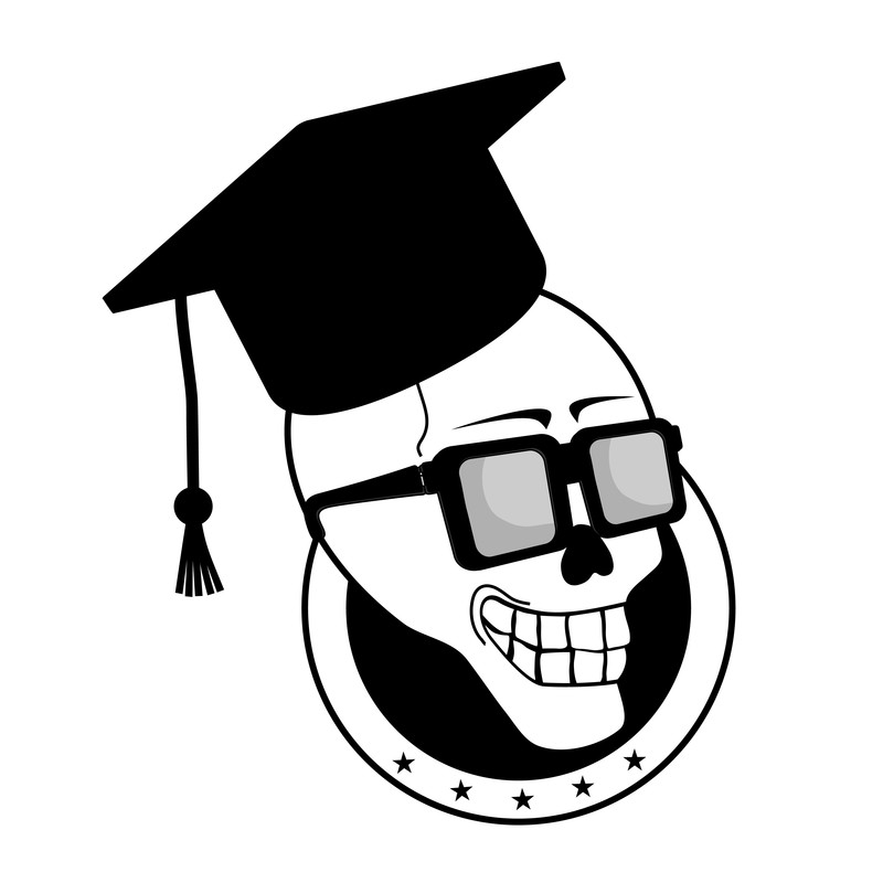 Graphic: Skeleton head with a mortar board. I'm old! I'm going back to school!