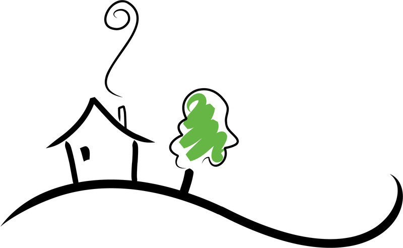 Graphic: A drawing of a house with smoke curling out of the chimney next to a tree.