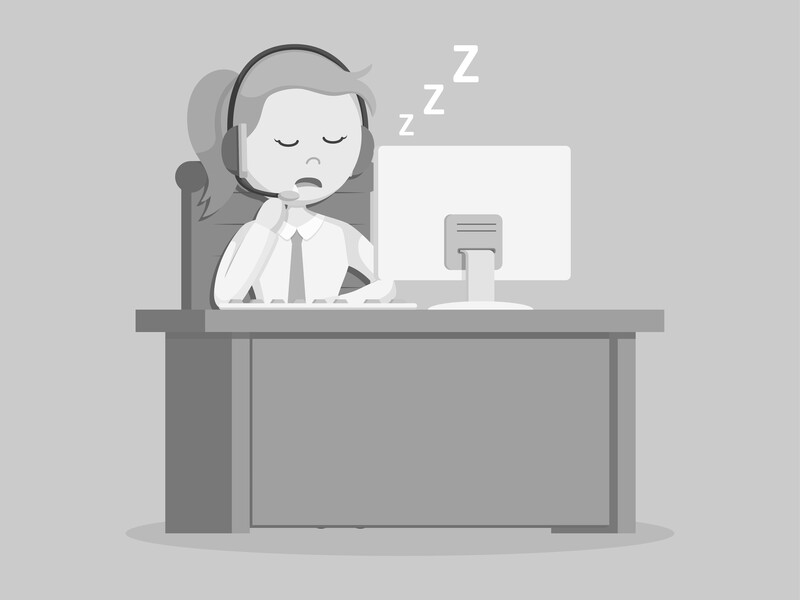 Graphic: Woman with headphones on asleep at her desk. Me, trying to make a podcast. Snoozeville!
