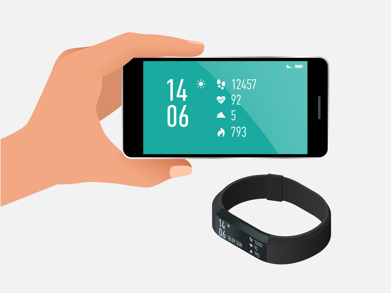 Drawing of fitness band and smartphone with statistics on it.