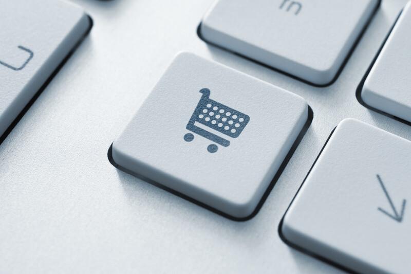 Keyboard with shopping cart key.