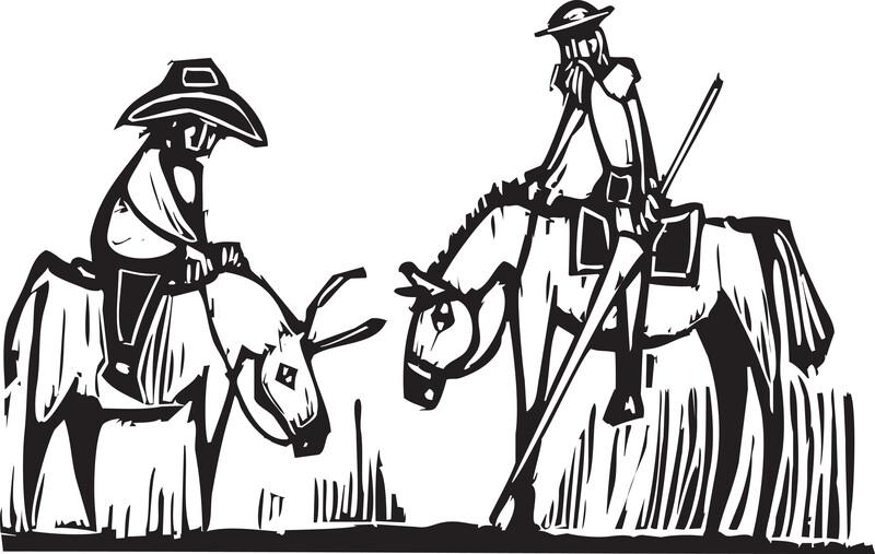 Woodcut drawing of Sancho Panza and Don Quixote on horses.