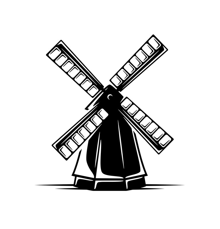 Woodcut drawing of windmill.